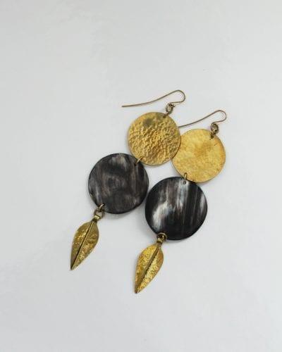 Adele Earrings Brass Black