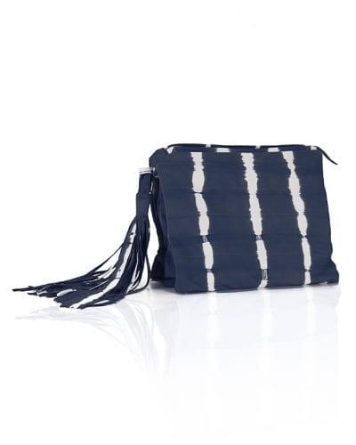 Liya Triple Clutch Bag with Tassel Blue