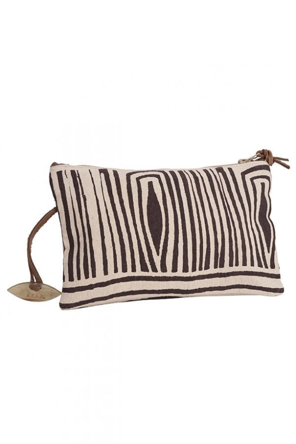 Brown Fossil Print Clutch Bag
